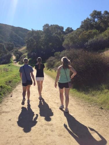 em, kell, and jen hiking in laguna canyon