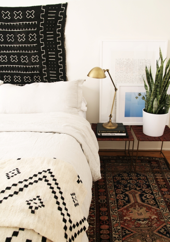 black and white tribal bed